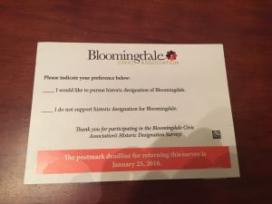 Bloomingdale Civic Association Survey Card